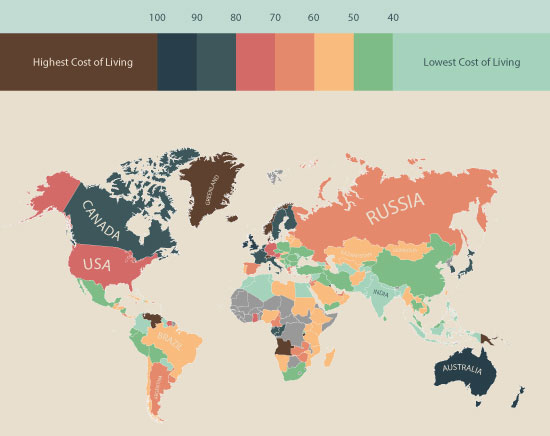 Global Living Costs Map